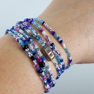 Handmade Blue Beaded  Bracelet Or Necklace